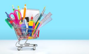 Stationery in shopping trolley