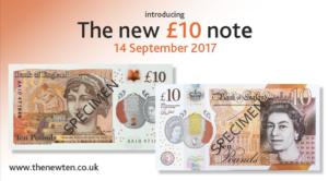 The New Ten Pound Note Featuring Jane Austen Circulation 14 September 2017